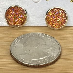 Jewelry - Orange Druzy Earrings